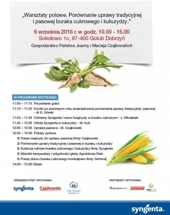 Zaproszenie Syngenta 6 września - warsztat polowy kukurydzy i buraka cukrowego .JPG