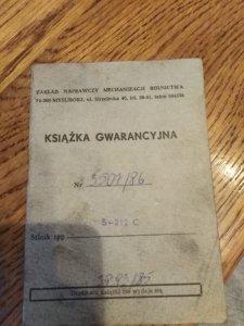 Książka gwarancyjna Ursus c-330